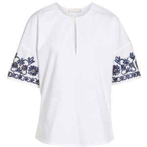 Tory Burch White Amy Embroidered Blouse